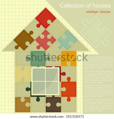 Vintage card - Puzzle house. Concept - Construction - vector illustration - stock vector