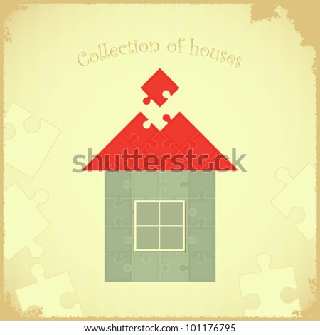 Vintage card - Puzzle house on Grunge background - vector illustration - stock vector