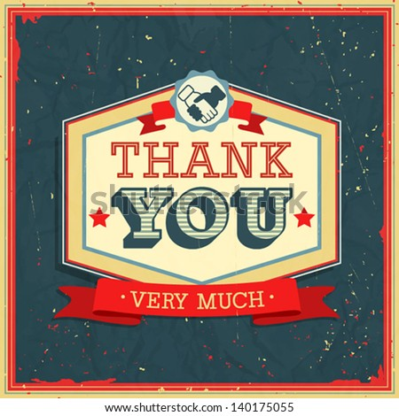 Vintage card - Thank You. Vector illustration. - stock vector
