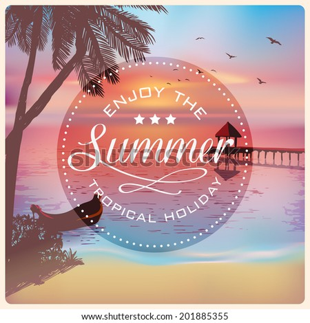 Vintage card with a beautiful sunset tropical beach | Retro elements for Summer calligraphic designs | Vintage ornaments | Enjoy summer holidays labels | Vector EPS 10 - stock vector