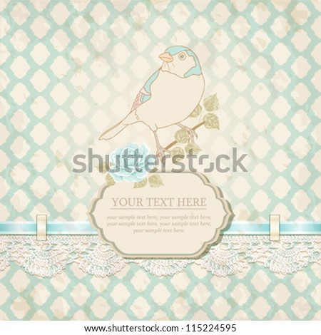 Vintage card with a bird. Retro background - stock vector