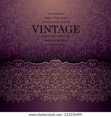 Vintage card with a border on wallpaper  - stock vector