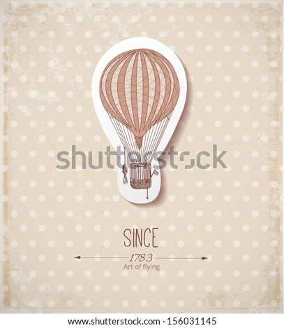 Vintage card with balloon on dotted beige background. Vector illustration.  - stock vector