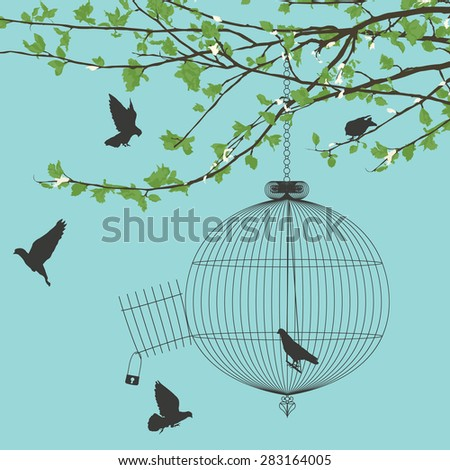 Vintage card with birds and open birdcage - stock vector
