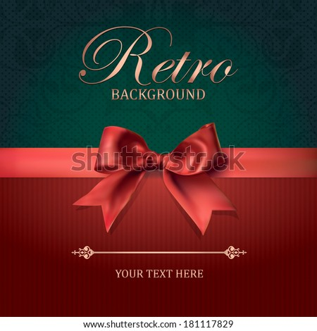 Vintage card with Bow. Retro Background. Vector Illustration. Damask Ornate Pattern, Space for Text - stock vector