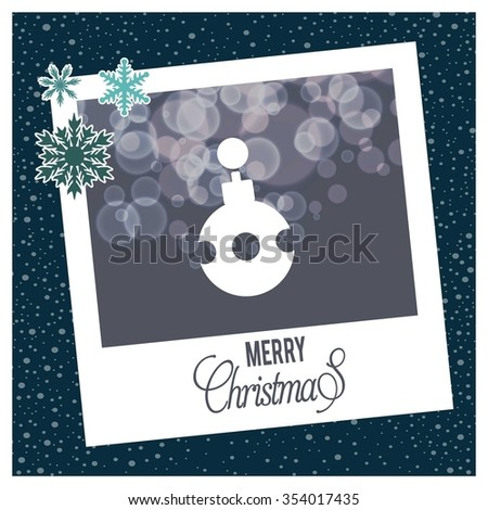 Vintage card with Christmas balls. vector illustration, Christmas Ball Ornaments card Design,  photo frame with Snowflake border and creative typography in footer on glowing Vector background. - stock vector