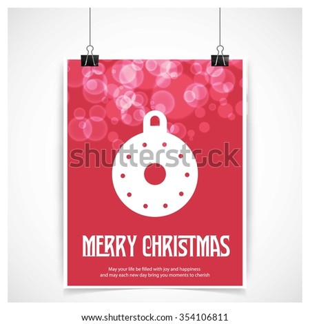 Vintage card with Christmas balls. vector illustration. Red glossy background hanging poster template with merry Christmas typography - stock vector