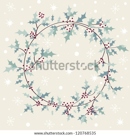 Vintage card with Christmas wreath vector illustration - stock vector