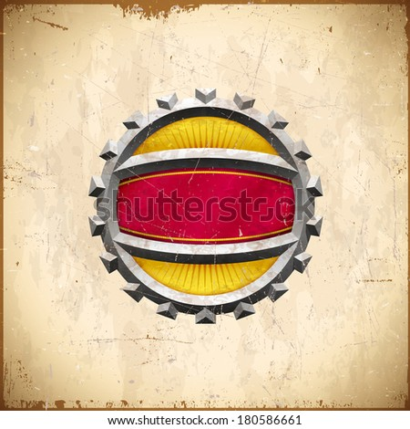 Vintage card with chrome gear label with ribbon - stock vector