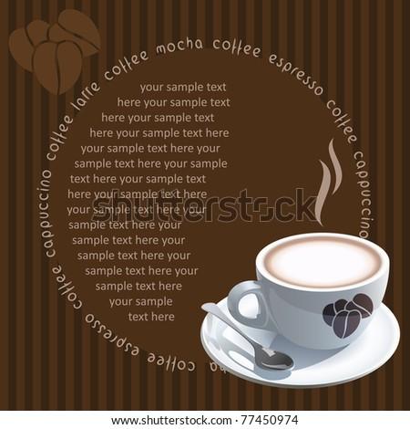 Vintage card with coffee mug - stock vector