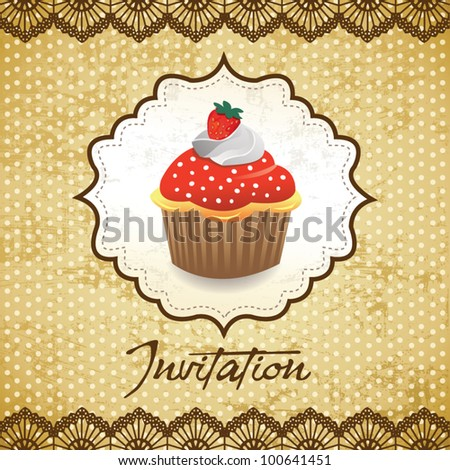 Vintage card with cupcake 017 - stock vector