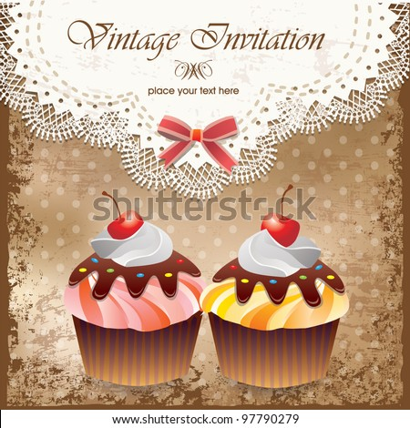 Vintage card with cupcake 012 - stock vector