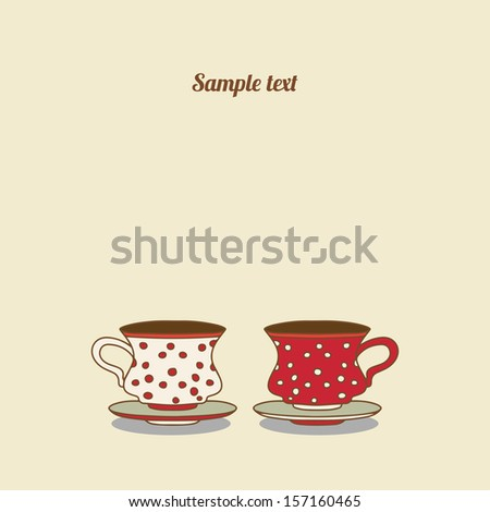 Vintage card with cups - vector - stock vector