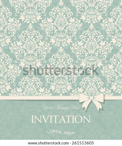 vintage card with damask background and elegant floral elements - stock vector