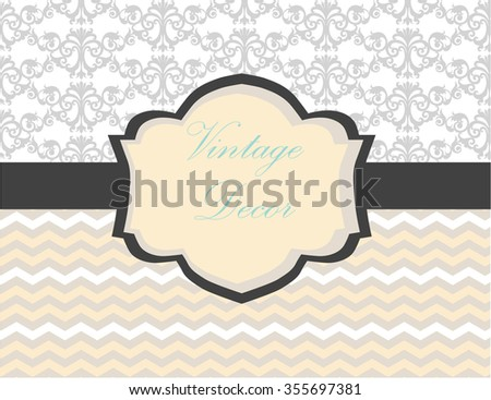 Vintage card with damask ornament and abstract pattern. Vector