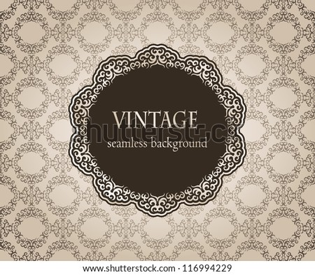 Vintage card with damask seamless background and frame - stock vector