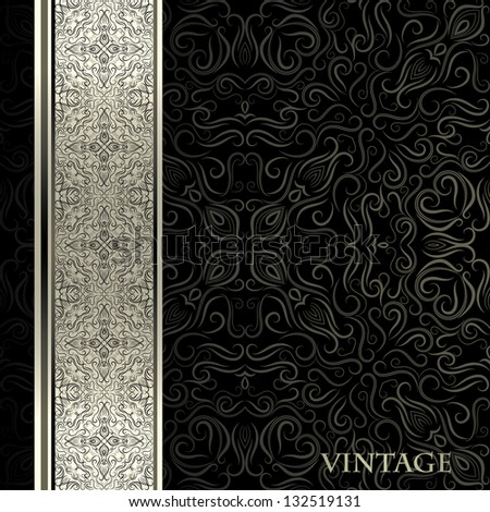 Vintage card with designed lace border - stock vector