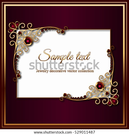 Vintage card diamond jewelry decoration gold stock photo photo vintage card with diamond jewelry decoration gold rectangle frame elegant wedding invitation or announcement junglespirit Gallery