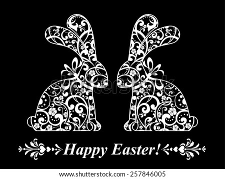 Vintage card with Easter bunny rabbit. Vector illustration. - stock vector