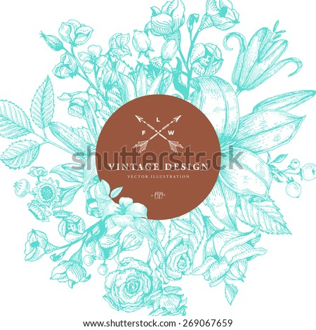 Vintage Card with Engraving Flowers. Floral Wreath. Flower Frame for Summer Logo and Label Designs. - stock vector