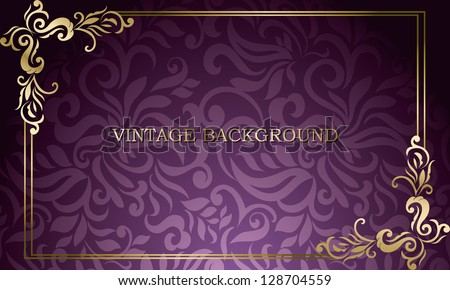 Vintage card with floral frame, visiting, business card - stock vector
