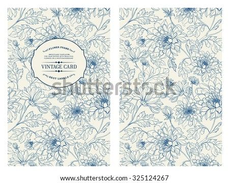 Vintage Card With Flowers On Background Book Cover Flower Texture Blue Lines
