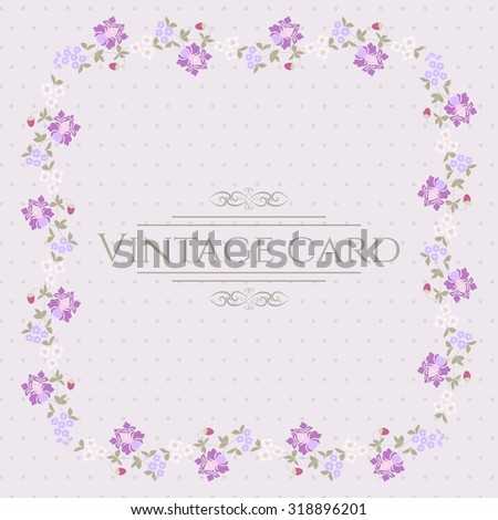Vintage Card with Frame and Flowers in vector - stock vector