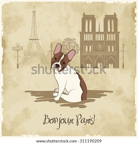 Vintage card with french bulldog in Paris - stock vector