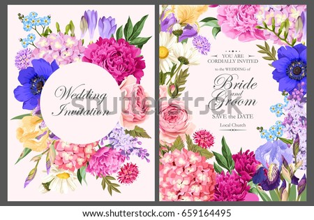 Vintage card with garden flowers