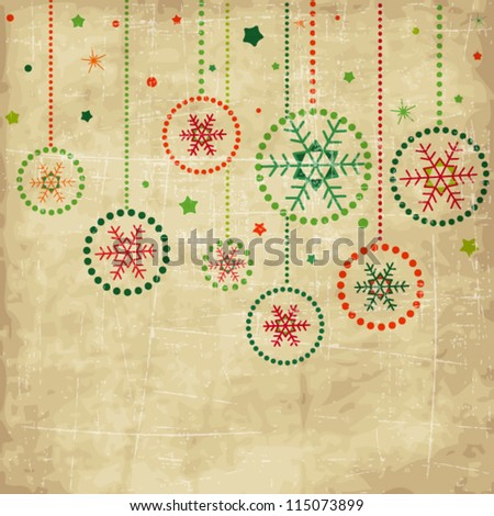 Vintage card with green and red Christmas balls - stock vector