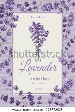 Vintage card with hand drawn floral elements in engraving style - fragrant lavender. Vector illustration. - stock vector