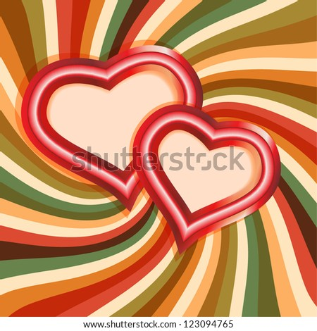 Vintage card with hearts - stock vector
