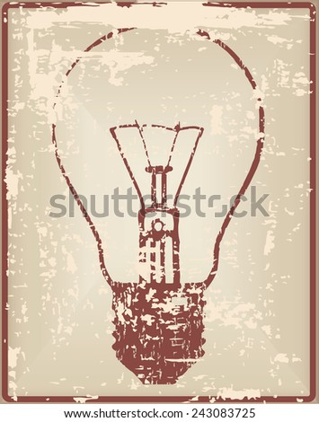 Vintage card with outdated light bulb. Vector illustration. - stock vector