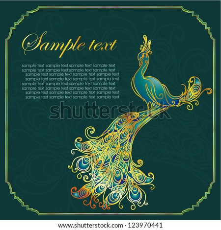 Vintage card with peacock - stock vector
