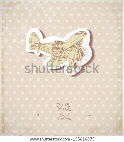 Vintage card with retro airplane. Place for your text. Vector illustration.  - stock vector