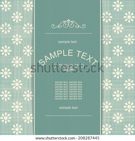 vintage card with retro floral seamless background