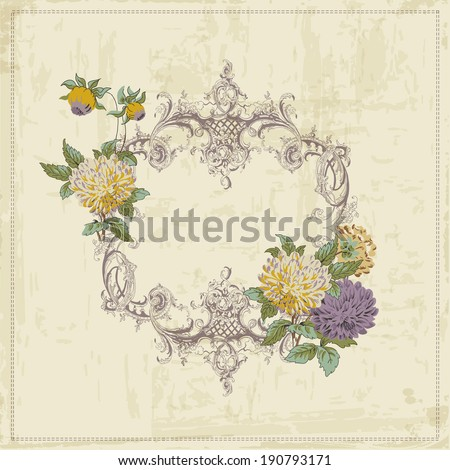 Vintage Card - with Retro Frame and Flowers - with place for your text - in vector - stock vector