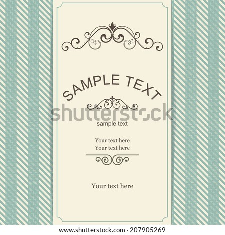vintage card with retro seamless background
