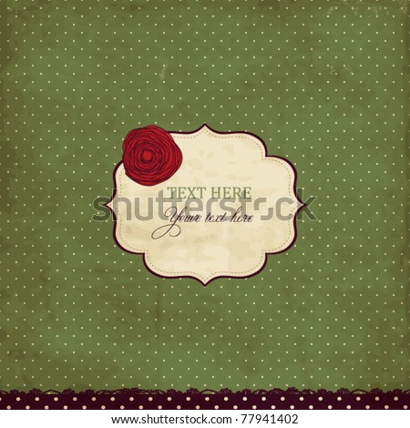 Vintage card with rose - stock vector