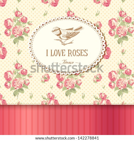 Vintage card with roses and a titmouse - stock vector