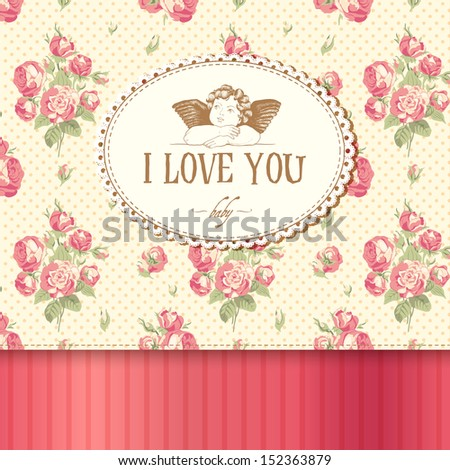 Vintage card with roses in the background and Cupid. - stock vector