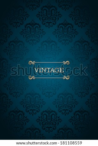 Vintage card with  seamless damask pattern in blue  - stock vector
