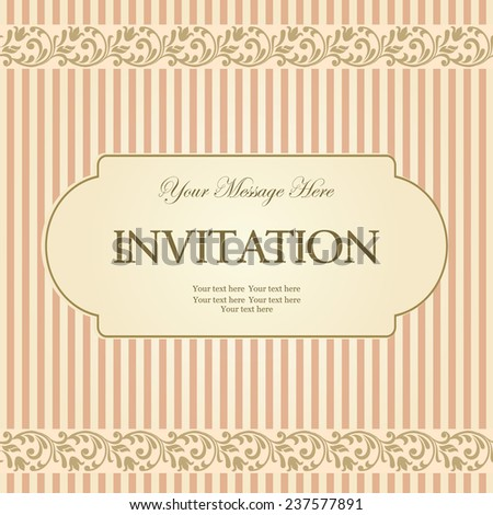 vintage card with victorian pattern  on striped background