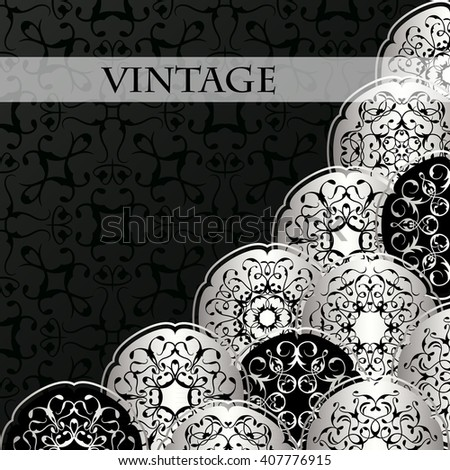 Vintage card with vintage round elements. Background in a black. Luxury black&silver design