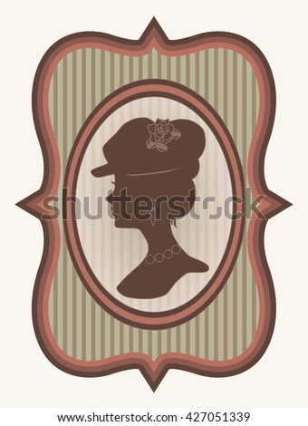 Vintage card with woman silhouette, vector illustration
