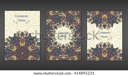 Vintage cards with Floral mandala pattern and ornaments. Vector Flyer oriental design Layout template. Islam, Arabic, Indian, Mexican ottoman motifs.Front page and back page. Easy to use and edit.  - stock vector
