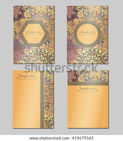 Vintage cards with Floral mandala pattern and ornaments. Vector Flyer oriental design Layout template. Islam, Arabic, Indian, ottoman motifs. Front page and back page. Easy to use and edit. - stock vector