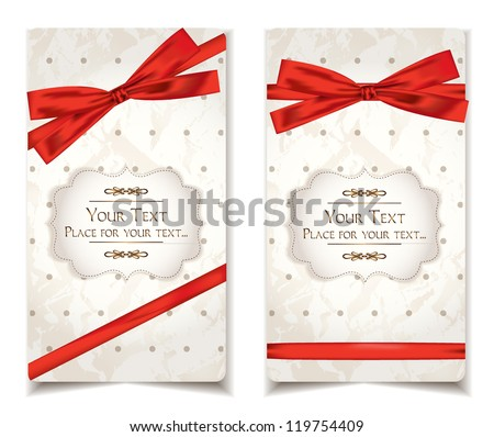 Vintage cards with red ribbons - stock vector