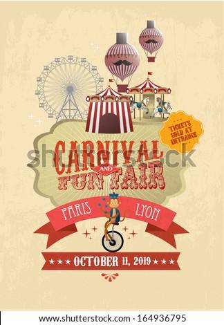 vintage carnival/fun fair/ fairground/circus poster template vector/illustration - stock vector