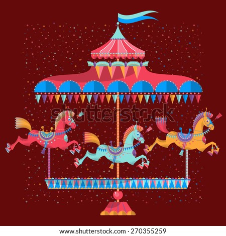 Vintage carousel with colorful horses. Vector illustration - stock vector